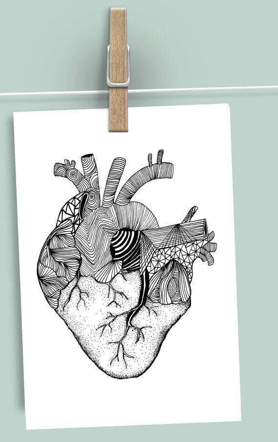 Anatomical Monochrome Heart Valentine's by ElettrasHappyLetters
