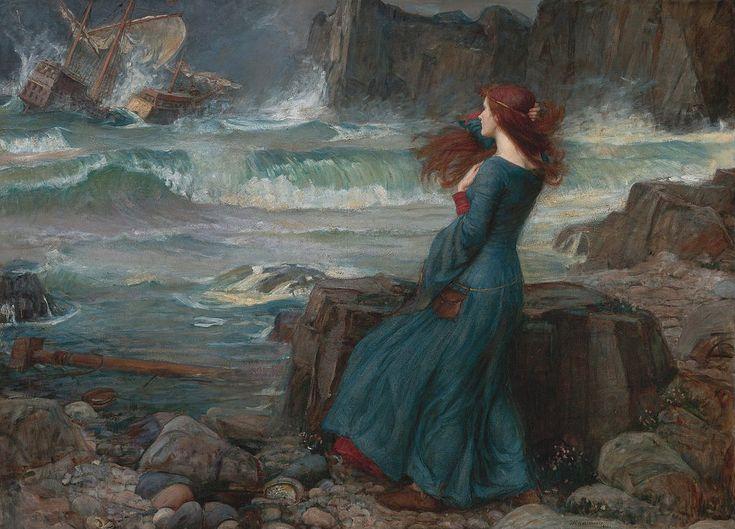 """Miranda - The Tempest"".  (1916). (by John William Waterhouse)."