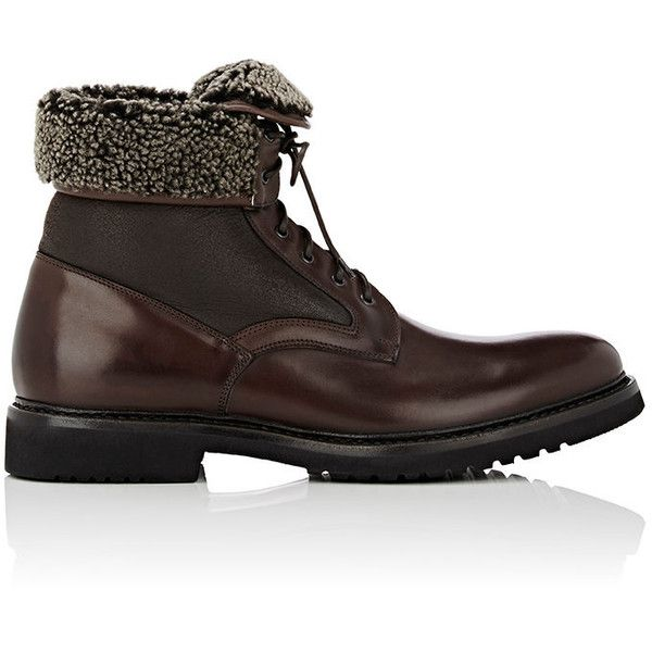 Franceschetti Men's Leather & Shearling Boots featuring polyvore, men's fashion, men's shoes, men's boots, ankle boots, dark brown, men's fold over boots, mens leather lace up shoes, mens leather boots, ankle boots mens shoes and mens leather ankle boots