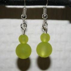 Boucles d'oreilles boules en verres jaunes - créabijoux lolo - bijou fantaisie