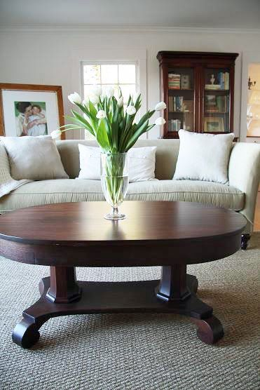 Looking for a coffee table similar to this antique oval library coffee table. Update: got it! Now I just need to have it restored! :)