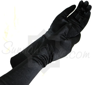 Satin Mid-Forearm Length Gloves (Black) from Sunnah Style - www.sunnahstyle.com