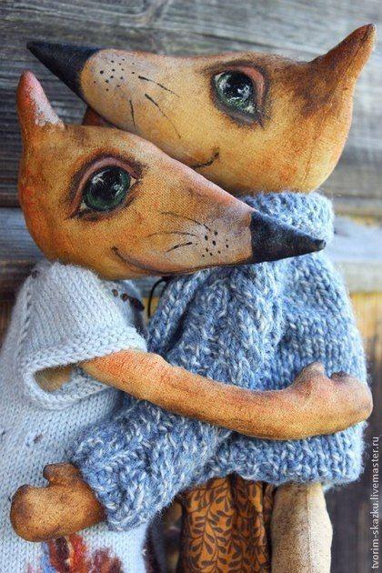 Влюбленные лисы - рыжий,лиса,Лисы,влюбленная пара,игрушка ручной работы