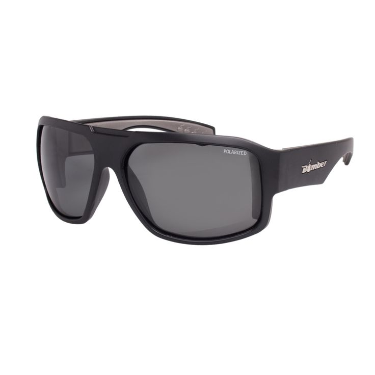 Bomber Sunglasses - Mega Bomb: Matte Black Frame/Smoke Polarized Lens/Grey Foam