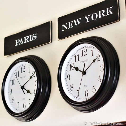 MUST DO: Above the headboard, 2 same size clocks (painted white). One sign says NY, the other Paris w/French typography pillow on bed. Change sign & pillow to London when the Brits come to visit, Rome when it's family. OR DO ALL 4 CLOCKS w/ SIGNS to left of the flat panel TV...like a newsroom.