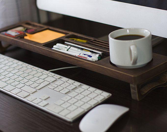 Altes Holz Büro Schreibtisch Organizer Desktop-Regal Büro organisiert organisiert Keyboards Rack Holz Desktop-Speicher Zubehör Rack Geschenk
