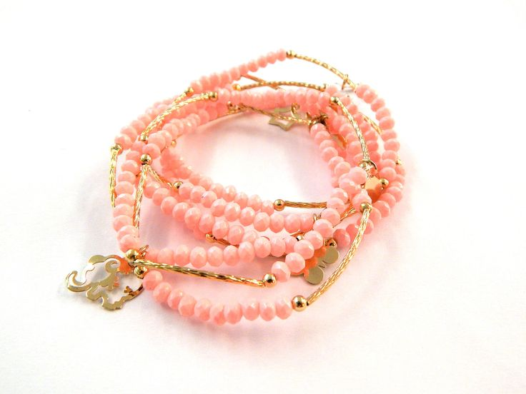 Pulseras semanarios 7 pulseras en cristal opaco color rosa pastel 4 mm, $120 Precio especial a mayoristas.