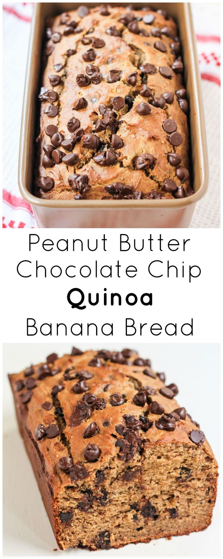 This Peanut Butter Chocolate Chip Quinoa Banana Bread is packed with peanut butter flavor and studded with chocolate chips. No butter, oil, dairy and made with nutritious gluten free quinoa & oat flour!