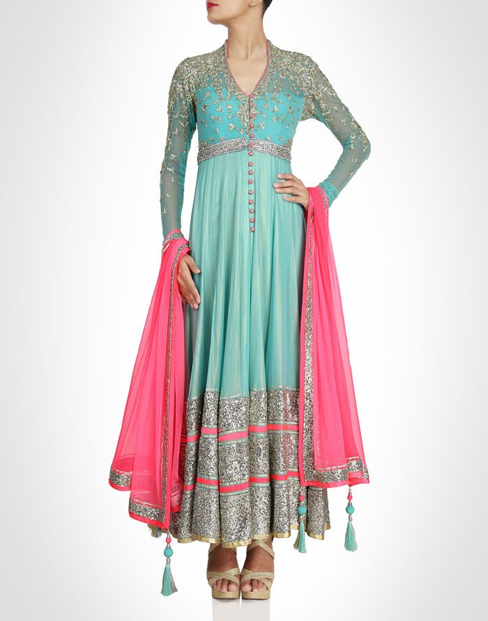 Sea blue anarkali with sequin baby #blue #designer #anarkali, baby blue and pink designer anarkali with silver embroidery