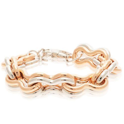 Belrose, bracciale in bronzo placcato. Delle doppie maglia a infinito si intersecano l'una con l'altra in un legame solido fatto di splendore e di ricercatezza. Il simbolo della tua passione senza fine per i bijoux.