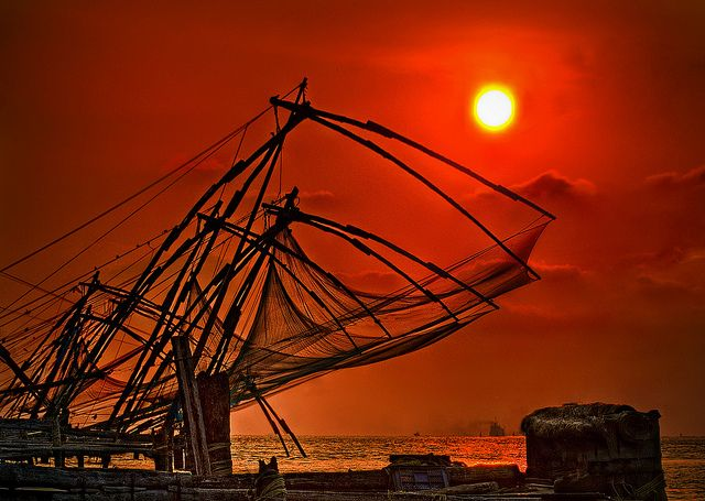 Indian sunset with fishing nets!