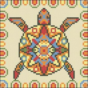 Cross-stitch Mayan Turtle cushion chart.. no color chart, just use pattern chart colors as your guide.. or choose your own colors.