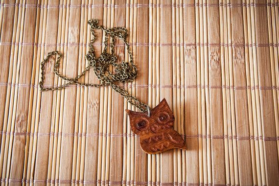 Necklace with handmade owl pendant made of olive by SilviaWithLove, €12.00
