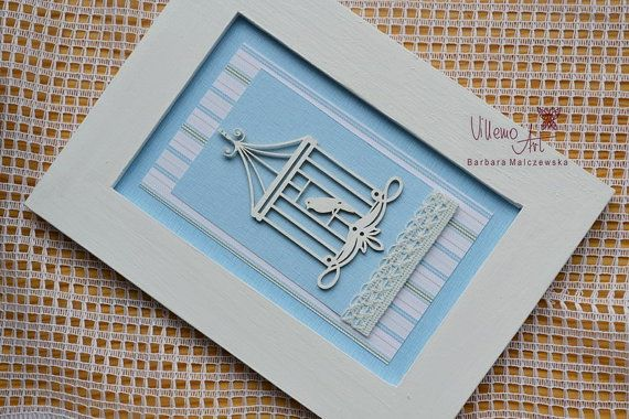 FramedArt   shabby chic blue bird scrapbooking Home by villemoart