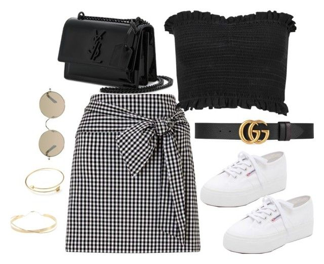 """""""Untitled #4257"""" by magsmccray ❤ liked on Polyvore featuring Miss Selfridge, Gucci, Superga, Yves Saint Laurent, Tura and Lana Jewelry"""