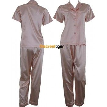 Champagne pink Satin Pyjamas Pj's. Soft and Luxurious set. Shirt is short sleeve, button up with collar and the pants are full length, long with drawstrings. Petite to Plus Size. Other colours available: Red, White, Black and Light Pink. Worldwide shipping. Mix and match, make it fun.