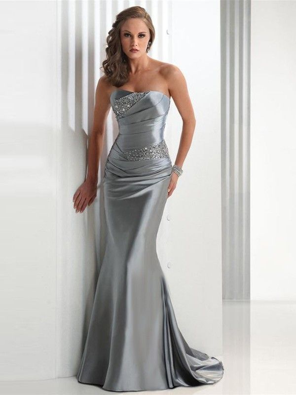 Trumpet / Mermaid Strapless Beading Sleeveless Elastic Woven Satin Dress