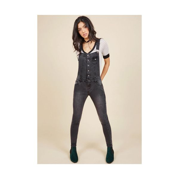 90s Skinny Post-Show Plans Overalls ($28) ❤ liked on Polyvore featuring jumpsuits, apparel, bottoms, denim pant, grey, skinny denim pant, skinny fit jeans, bib overalls, skinny jeans overalls and gray jumpsuits