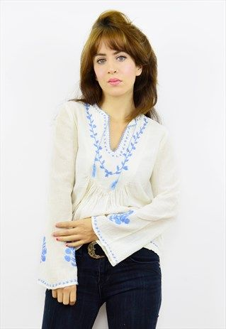 Vintage+70s+cream+cheesecloth+embroidered+smock+top