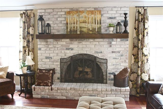 Red brick fireplace makeover. Too simple to not try. Here's what they used: 1. latex paint (Sherwin Williams Cashmere Paint~Medium Lustre~Luminous White) 2. water 3. a paint brush 4. a rag Here's how they did it... a mixture of equal parts of latex paint and water, one of them applied it to the bricks with a paintbrush while the other followed behind with rag removing the excess.