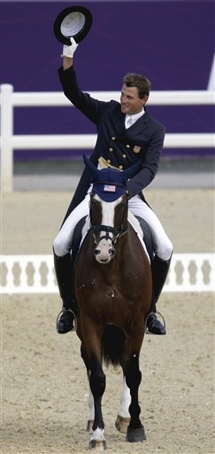 London Olympics Equestrian  July 28Boyd Martin, of the United States, and his horse Otis Barbotiere, compete during the equestrian eventing dressage phase at the 2012 Summer Olympics, Saturday, July 28, 2012, in London. (AP Photo/David Goldman