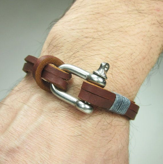 Brown Leather Bracelet in Gray Rope Unisex by ZEcollection on Etsy
