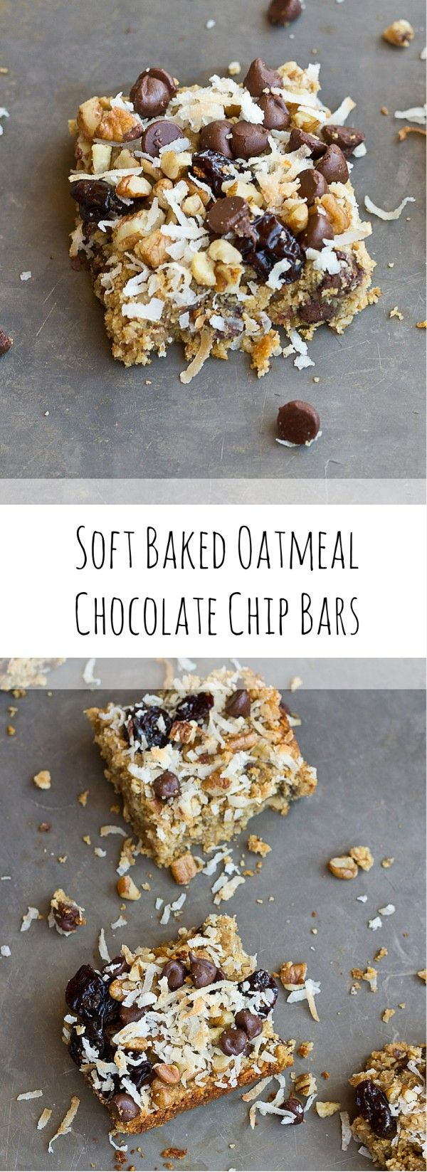 These Soft Baked Oatmeal Chocolate Chip Bars are soooooft and oooh so gooooewy. Healthy enough for a breakfast bar or enjoy as snack or dessert any time of day. Love the chocolate chunks in every bite! Vegan and Gluten Free