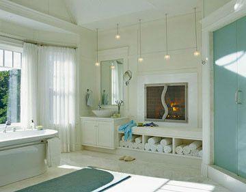 I'm dreaming. I love fireplaces. I would never leave the bath.Bathroom Design, Dreams Bathroom, Bathroom Ideas, Master Baths, Bath Ideas, Gardens Dreams, Bathroom Decor, Bathroom Fireplaces, Master Bathroom