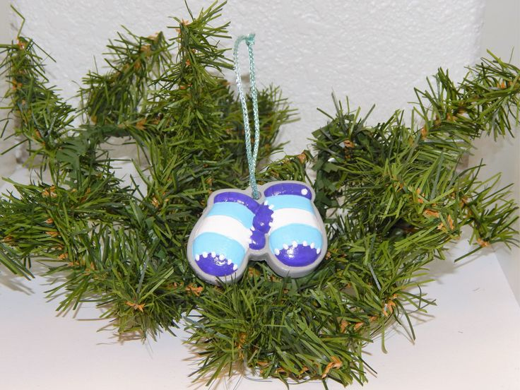 Hand Painted Plaster Purple, Ice Blue, and White Mitten Set Ornament by QuietBendCreations on Etsy
