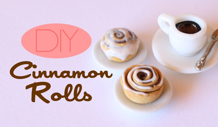 Miniature Cinnamon rolls made from polymer clay. -Toni Ellison