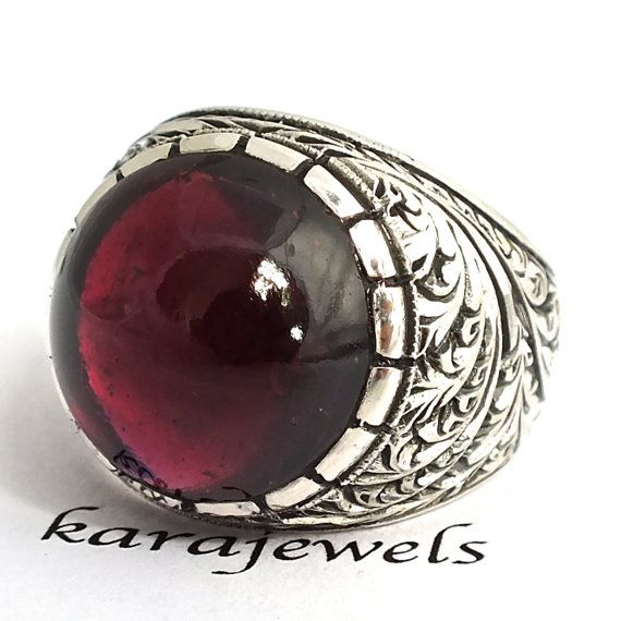 Sterling Silver Precious Handmade Ring for Men with Garnet Size US10.5 Natural Stone