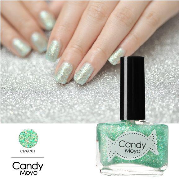 Candy Moyo美人鱼之吻指甲油 糖果色渐变亮闪亮片蓝绿美甲CMG701