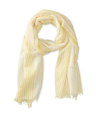 70% OFF M.Patmos Women's Tissue Cashmere Woven Vertical Stripe Scarf (Ivory/Yellow)