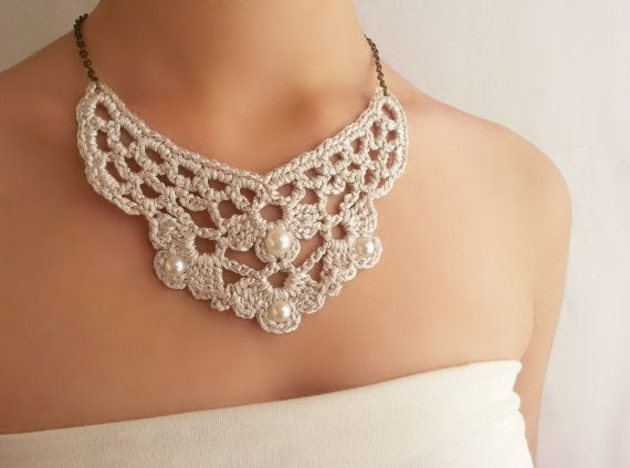 Ivory white necklace  Pearl bib necklace  Victorian by DIDIcrochet