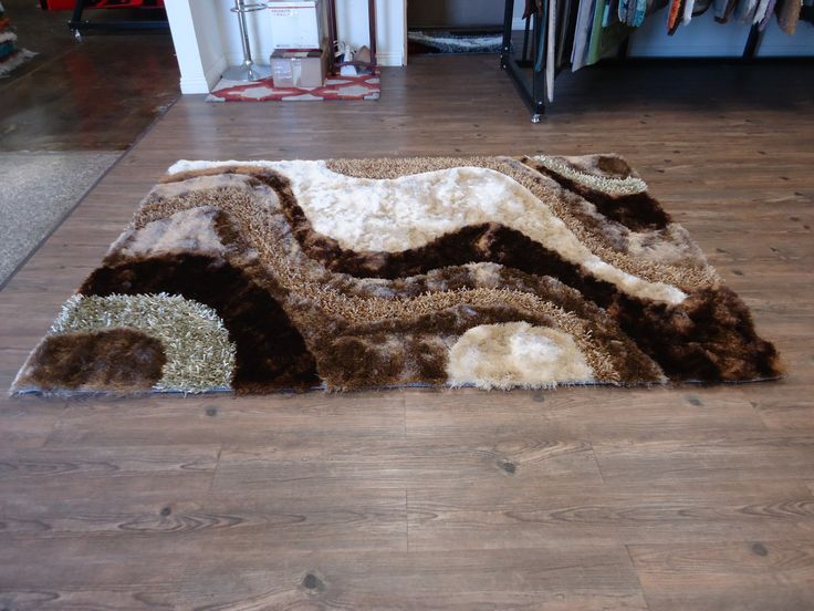 beige with brown shag rug