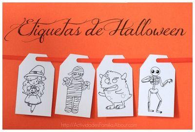 Lindas etiquetas de #Halloween para imprimir, colorear, y dar un toque súper especial a tus regalos o bolsitas de dulces