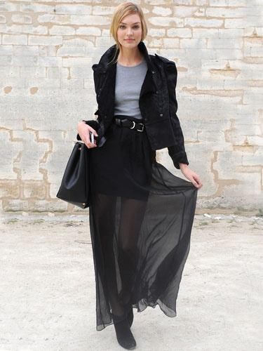 Add a sheer overlay on-top of any drab skirt and pair it with a cozy t-shirt.