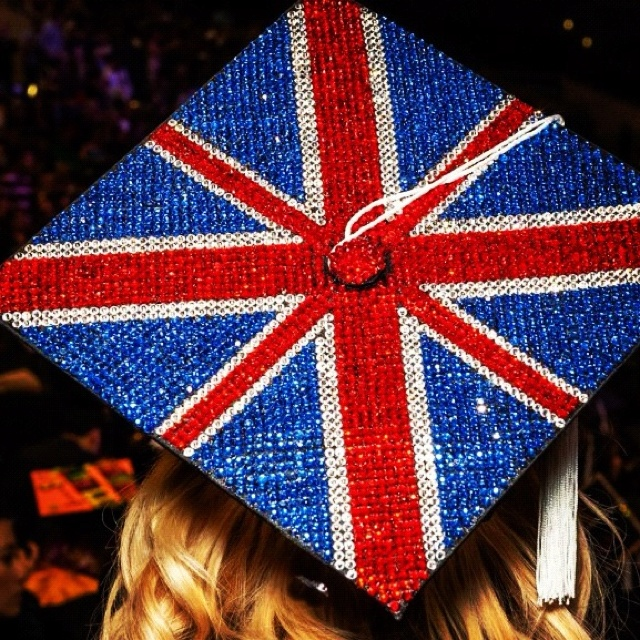Bedazzled Union Jack on the top of a FIDM graduate's cap