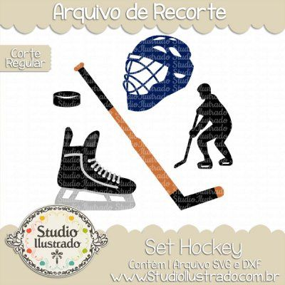 Hockey Set, Set Hockey, Hóquei de Gelo, NHL, Liga Nacional de Hockey, Ice, Bola, Ball, Capacete, Helmet, Taco, Club, Patins, Skates, Jogador, Player, Corte Regular, Regular Cut, Silhouette, DXF, SVG, PNG