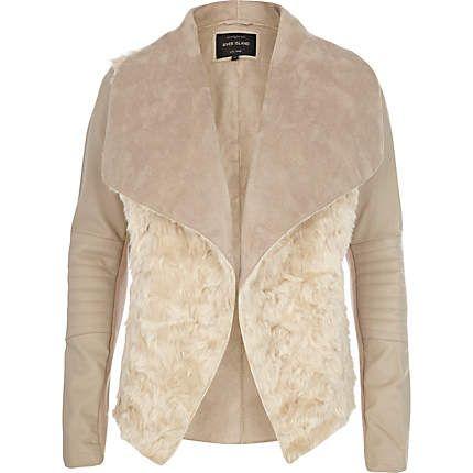 Cream shearling panel waterfall biker jacket $140.00