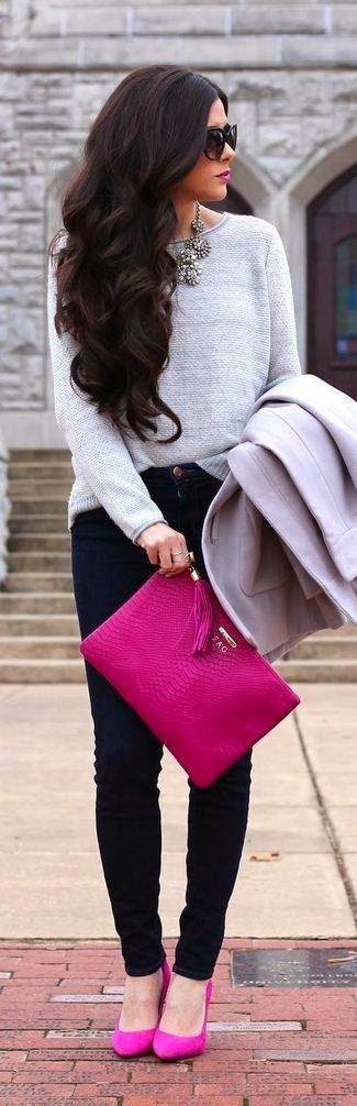 Black Sunglasses — Silver Necklace — Grey Crew-neck Sweater — Grey Coat — Hot Pink Leather Clutch — Black Skinny Jeans — Hot Pink Suede Pumps