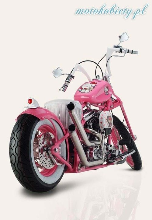 Bahaha this is bad ass! Hello Kitty Bike!! Check out the pipes and the pretty tassels, I'd probably have to have more tassels on the bars too....so cool!