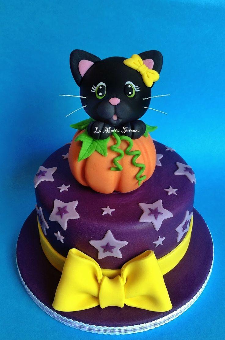 """Torta con gatto di halloween di Marica Coluzzi """"la mucca sbronza"""" per Corso Cake Design."""