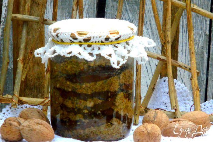 Ореховые баклажаны. Домашняя заготовка на зиму из пикантных баклажанов с грецкими орехами. #edimdoma #recipe #cookery