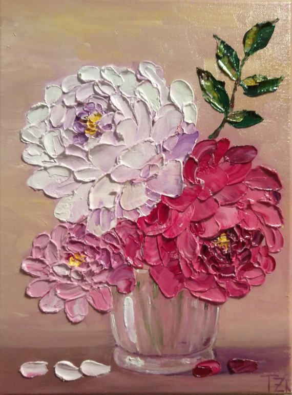 Pink and White Roses in a Glass Bowl Original oil impasto