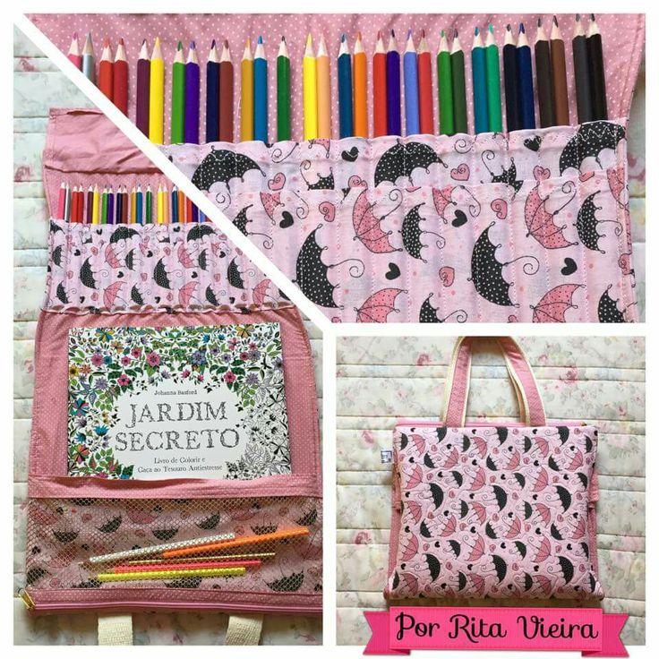 Bolsa para livros de colorir #patchwork #jardimsecreto