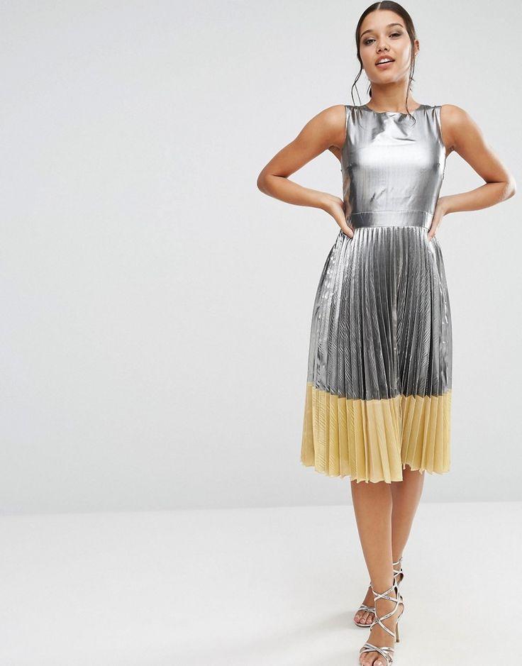Image 4 ofASOS Sheer And Solid Metallic Pleated Midi Dress