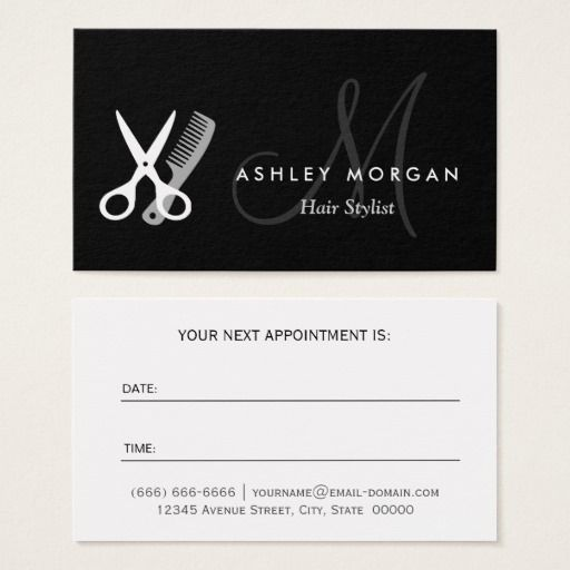 243 best hairstylist business cards images on pinterest black white monogram hair hairstylist appointment business card colourmoves