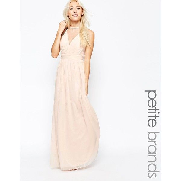 Little Mistress Petite Maxi Dress With Mesh Neckline ($49) ❤ liked on Polyvore featuring dresses, beige, petite, wrap dress, white maxi dress, petite dresses, petite white dresses and white wrap dress