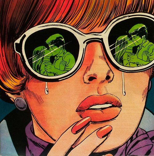 Illustration vintage romance comics 1960's young romance
